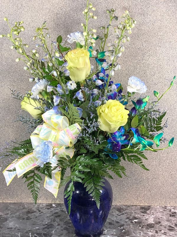 yellow roses and assorted blue flowers | Spring Creek Design LLC | Gillette Wyoming