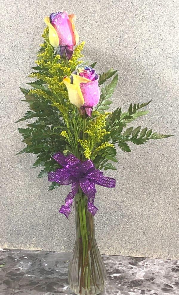 tie-dyed roses in vase | spring creek designs | Gillette Wyoming