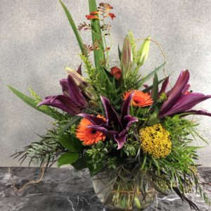 Festive Fall Flowers In Glass Bowl