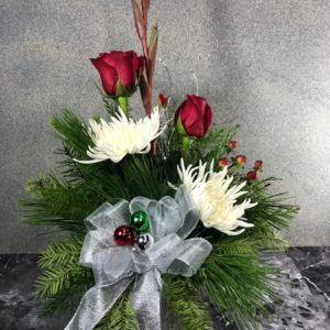 christmas flower arrangement in vase