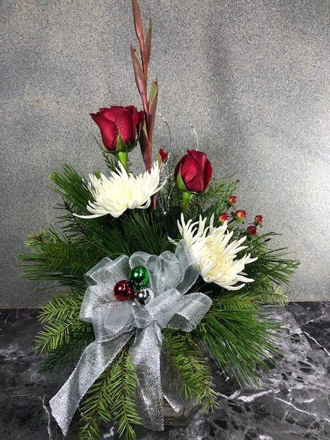 christmas flower arrangement in vase
